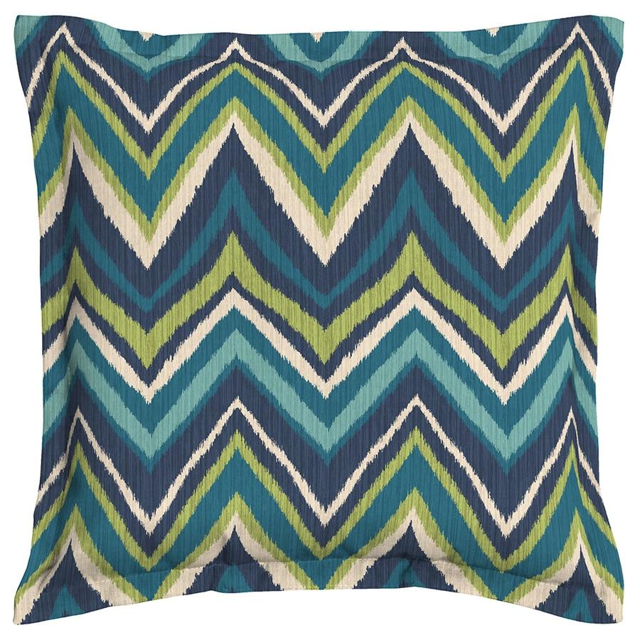 Garden Treasures Blue Flame Stitch Chevron Square Outdoor Decorative Pillow