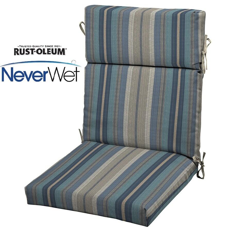 Shop Allen Roth Blue Stripe Cushion For High Back Chair