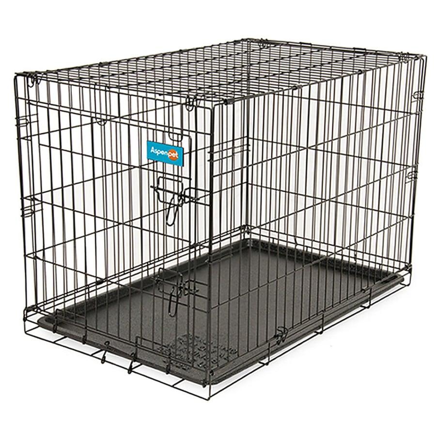 Aspen Pet 3.5-ft x 2.33-ft x 2.58-ft Black Collapsible Wire Pet Crate