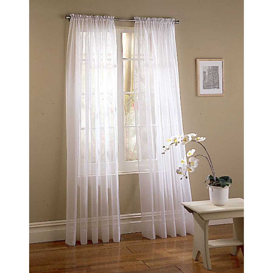 Style Selections Voile 95-in White Polyester Rod Pocket Light Filtering Sheer Single Curtain Panel