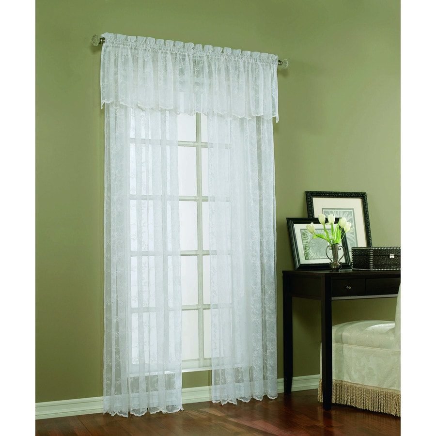 Style Selections Cecelia 84-in White Polyester Rod Pocket Light Filtering Sheer Single Curtain Panel