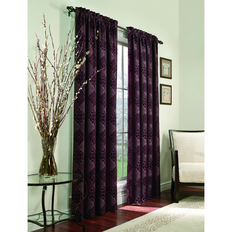 allen + roth Roselle 84-in L Geometric Plum Rod Pocket Curtain Panel