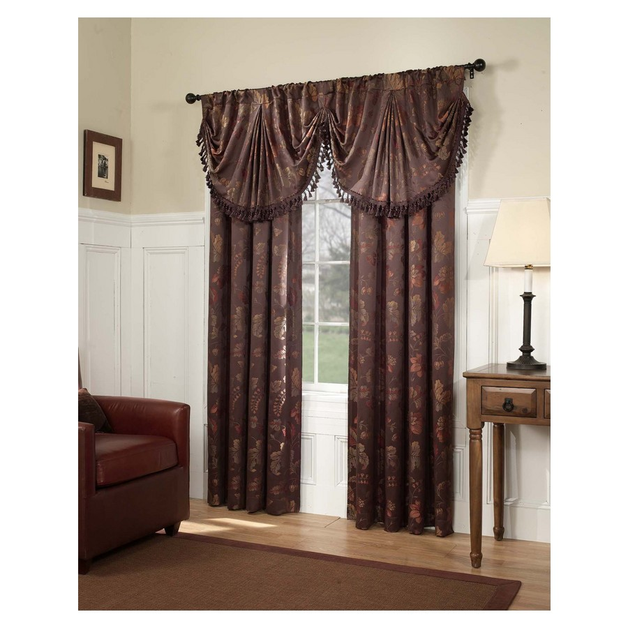 Style Selections Monroe 23-in Chocolate Polyester Rod Pocket Valance