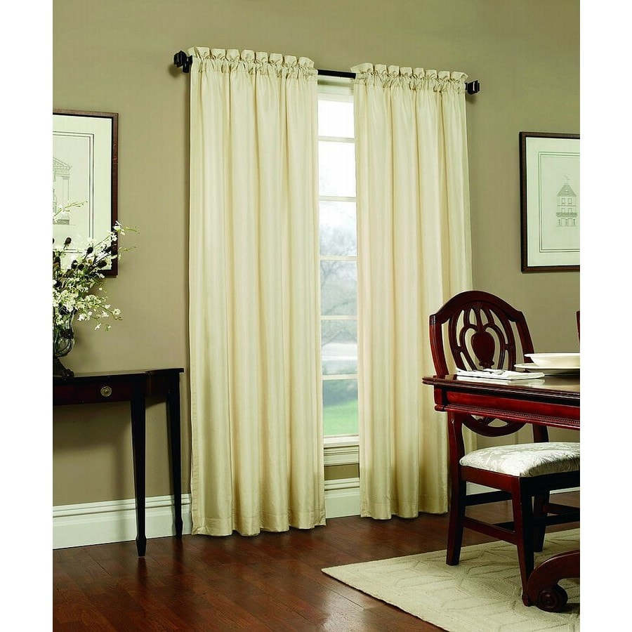 allen + roth Columbia 95-in Ivory Polyester Rod Pocket Blackout Single Curtain Panel