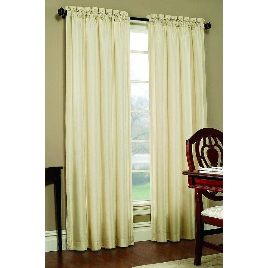 allen + roth Columbia 63-in Ivory Polyester Rod Pocket Blackout Single Curtain Panel