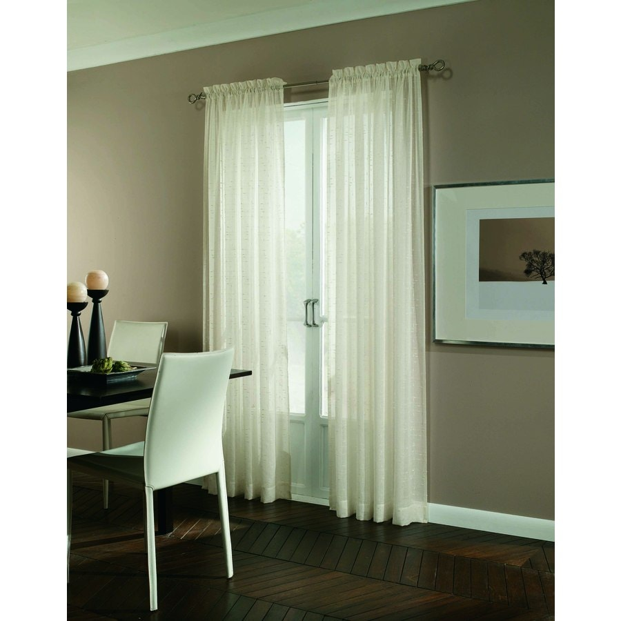 allen + roth Williamston 63-in Ivory Polyester Rod Pocket Light Filtering Single Curtain Panel