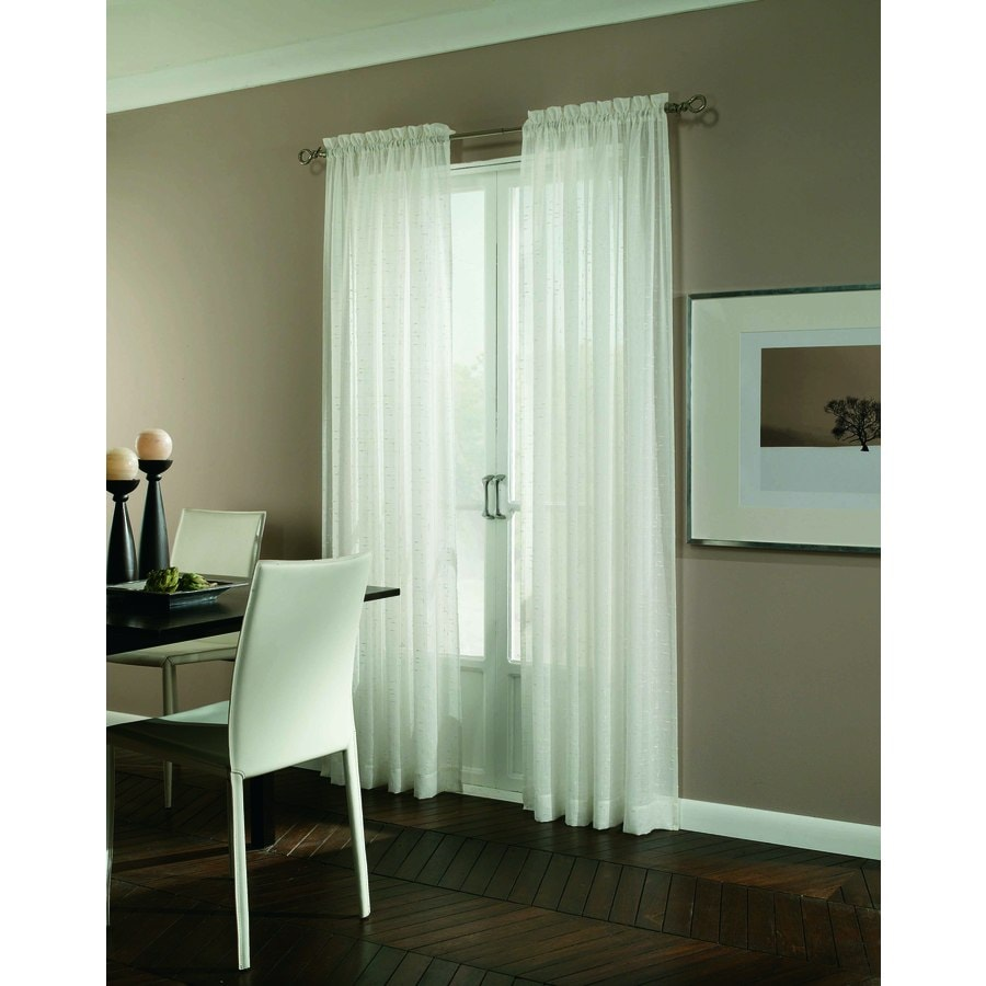 allen + roth Williamston 63-in White Polyester Rod Pocket Light Filtering Single Curtain Panel