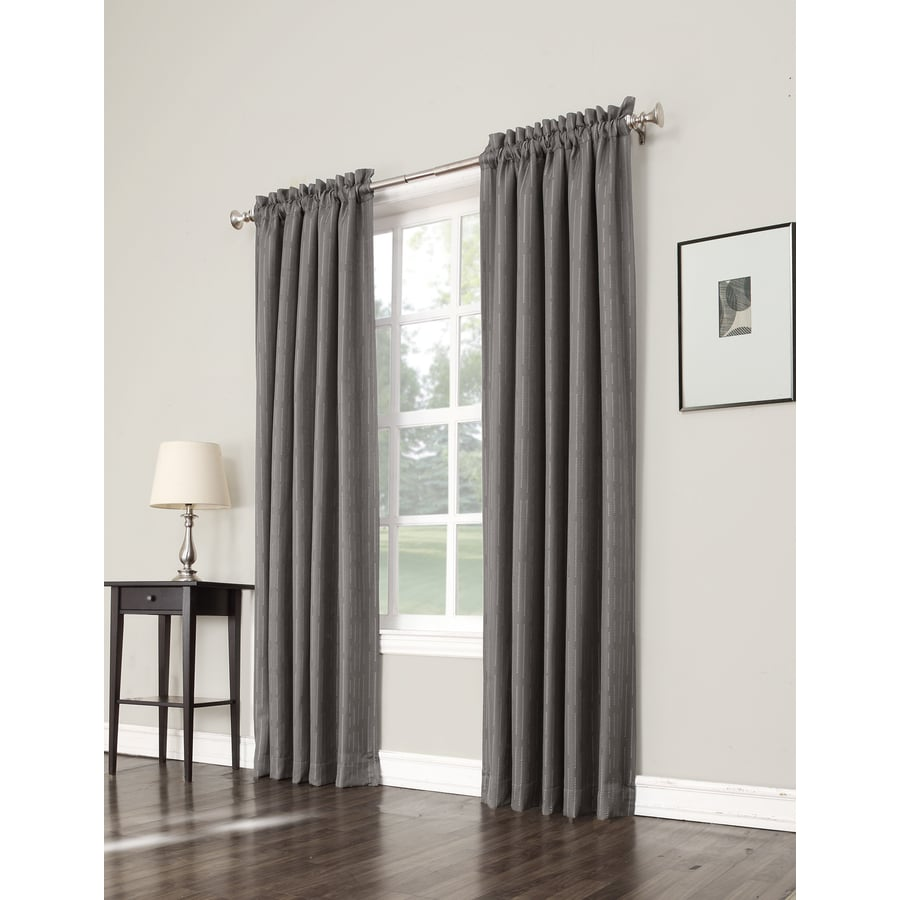 allen + roth Earnley 84-in Charcoal Polyester Rod Pocket Room Darkening Single Curtain Panel