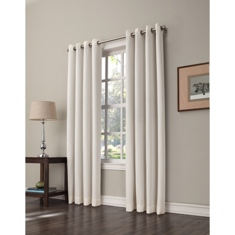 allen + roth Romanby 84-in Ivory Polyester Grommet Room Darkening Single Curtain Panel