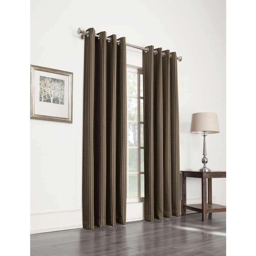 allen + roth Withern 95-in Brown Polyester Grommet Blackout Single Curtain Panel
