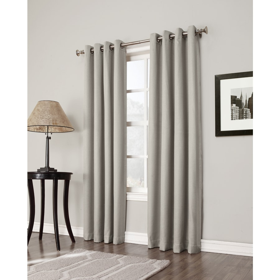 allen + roth Bandley 63-in Sand Polyester Grommet Blackout Single Curtain Panel