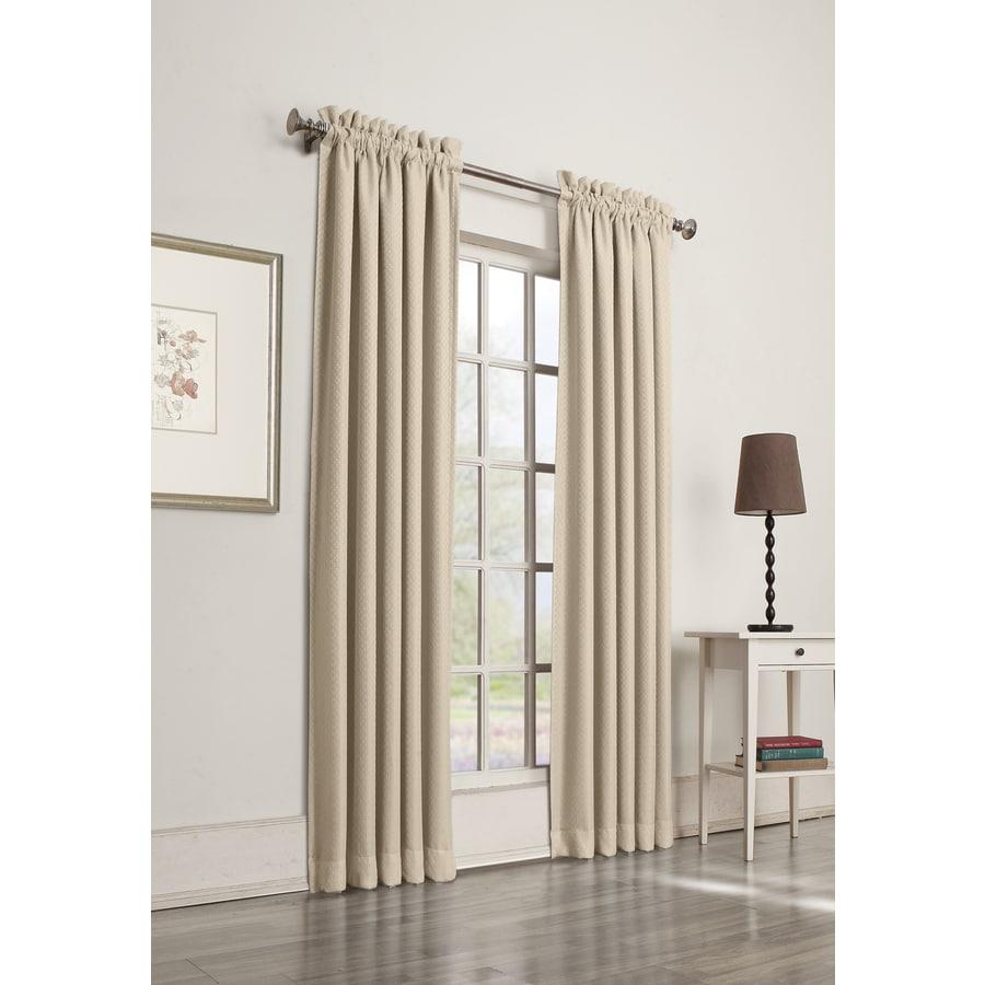 allen + roth Guestling 63-in Ivory Polyester Rod Pocket Room Darkening Single Curtain Panel