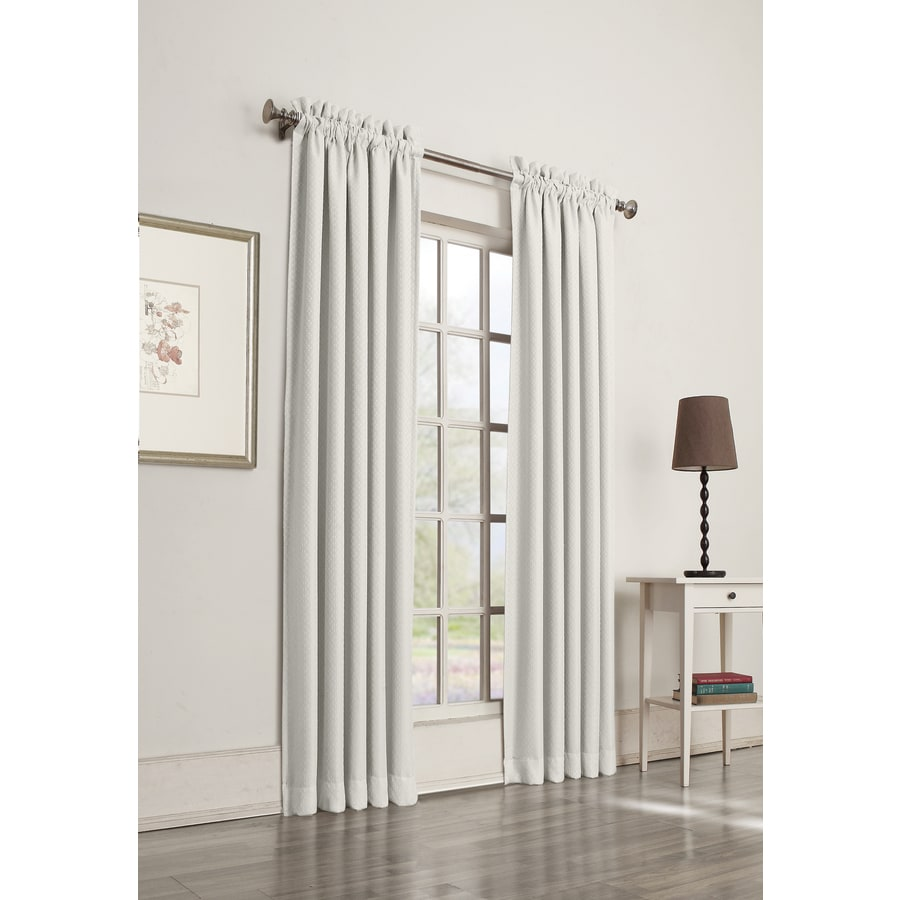 Shop Allen Roth Guestling 95 In White Polyester Rod Pocket Room Darkening Single Curtain Panel