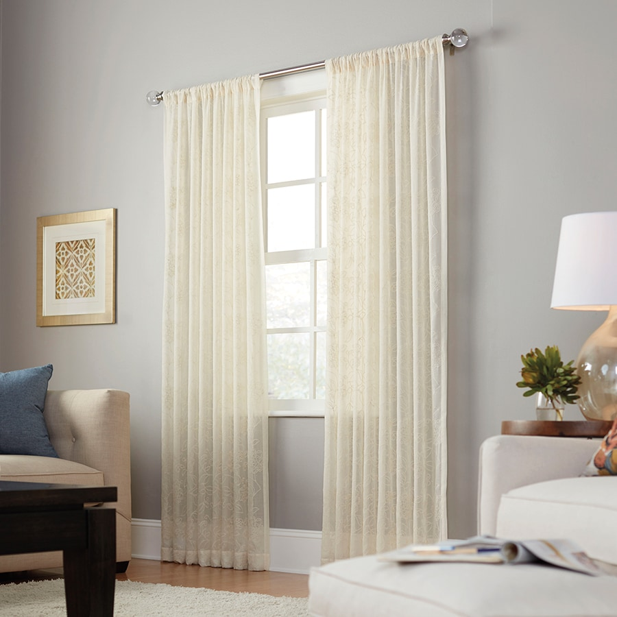 allen + roth Linchmere 95-in Ivory Polyester Rod Pocket Sheer Single Curtain Panel