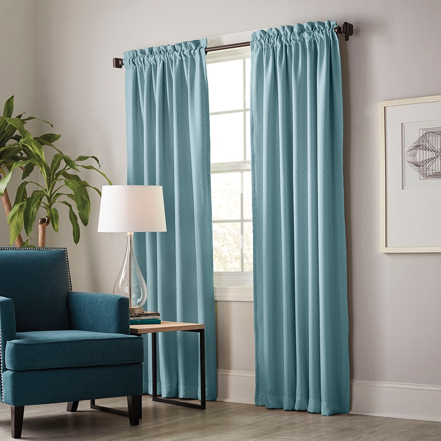allen + roth Guestling 63-in Teal Polyester Rod Pocket Blackout Thermal Lined Single Curtain Panel