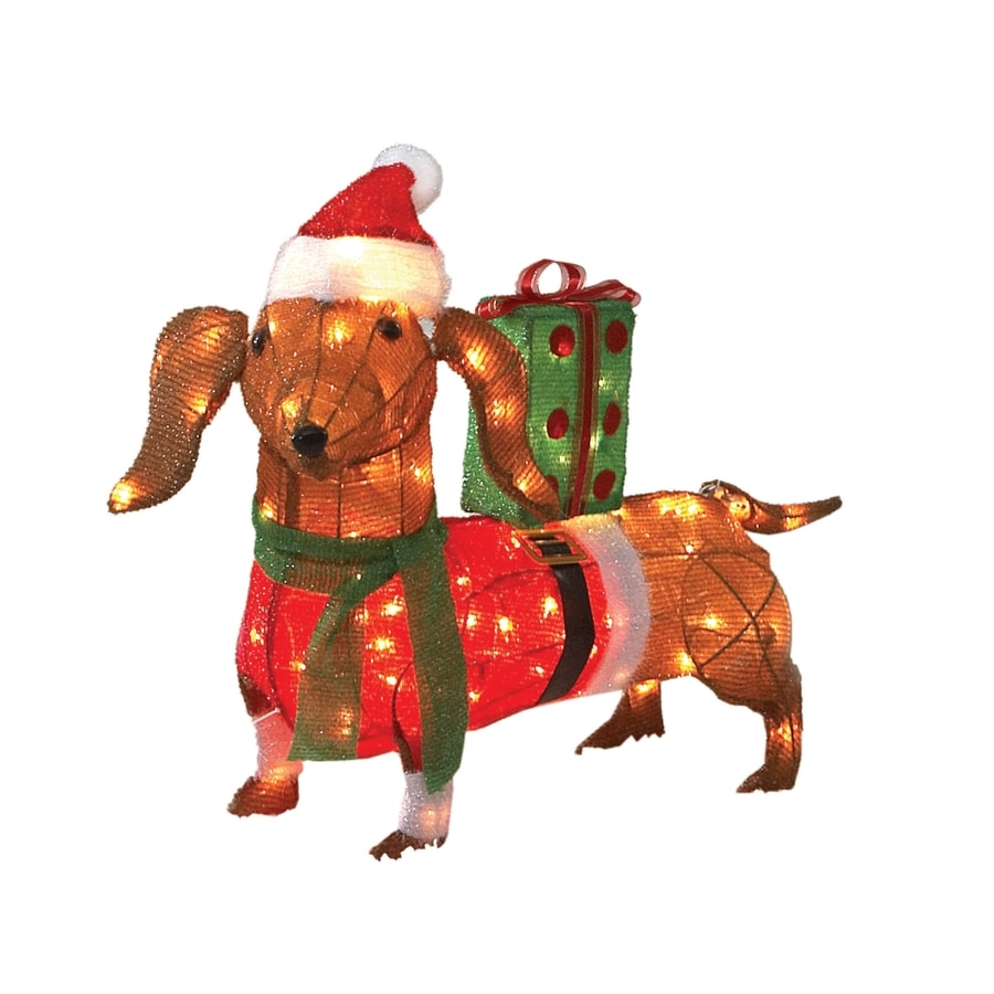 "Holiday Living 30"" 100-Light Soft Tinsel Sausage Dog"