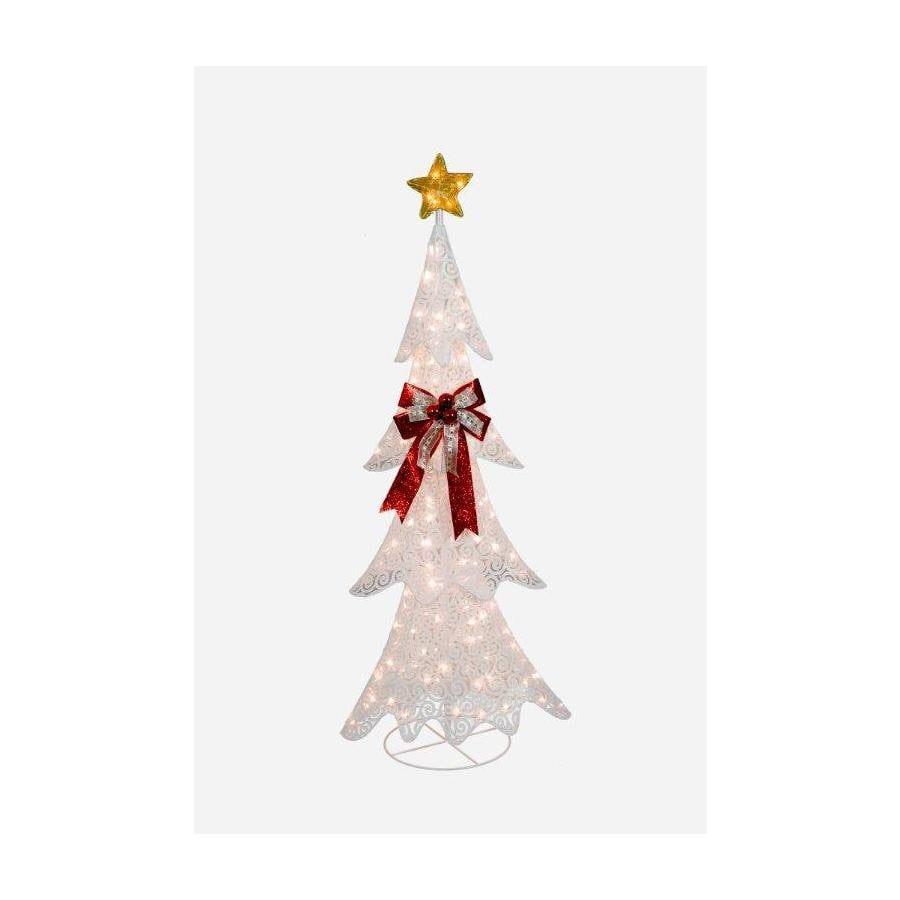 Holiday Living 61-in Fabric White Scroll Tree with 150 Lights