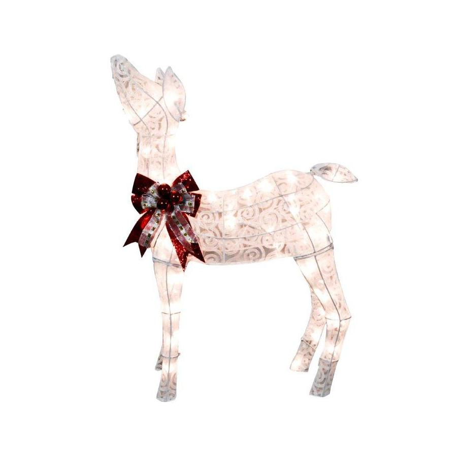 Holiday Living 2.5-ft Fabric White Scroll Fawn with 70 Lights