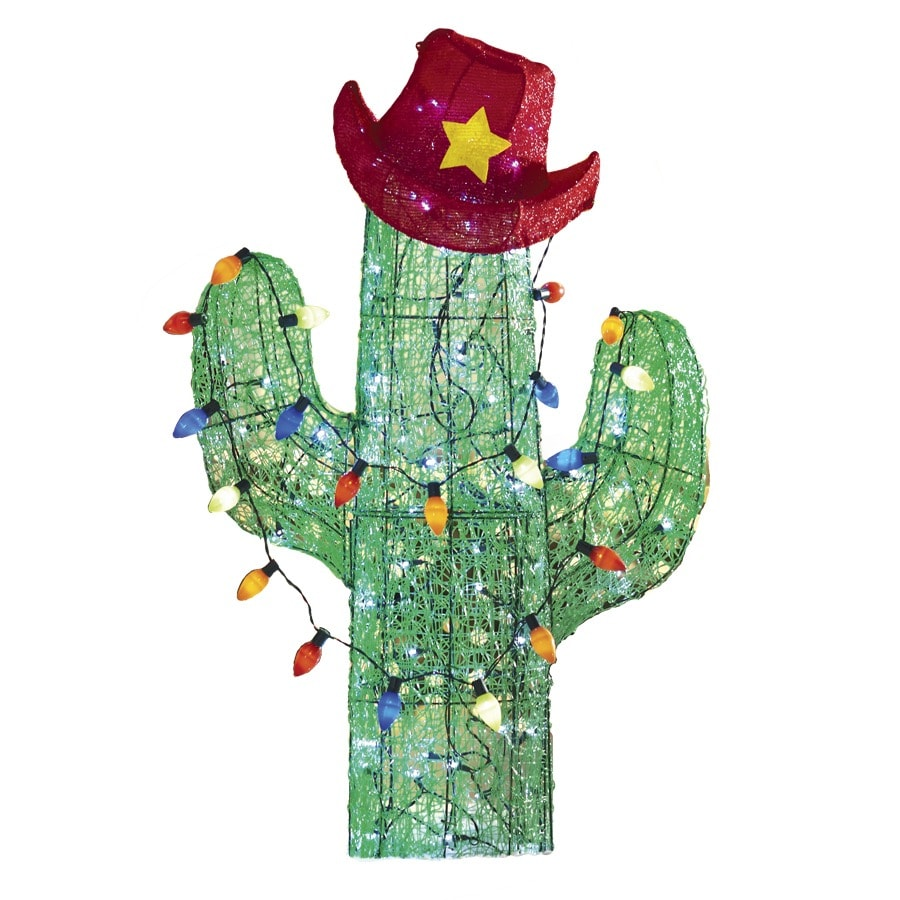 Shop holiday living 4 ft lighted cactus freestanding for Outdoor christmas sculptures