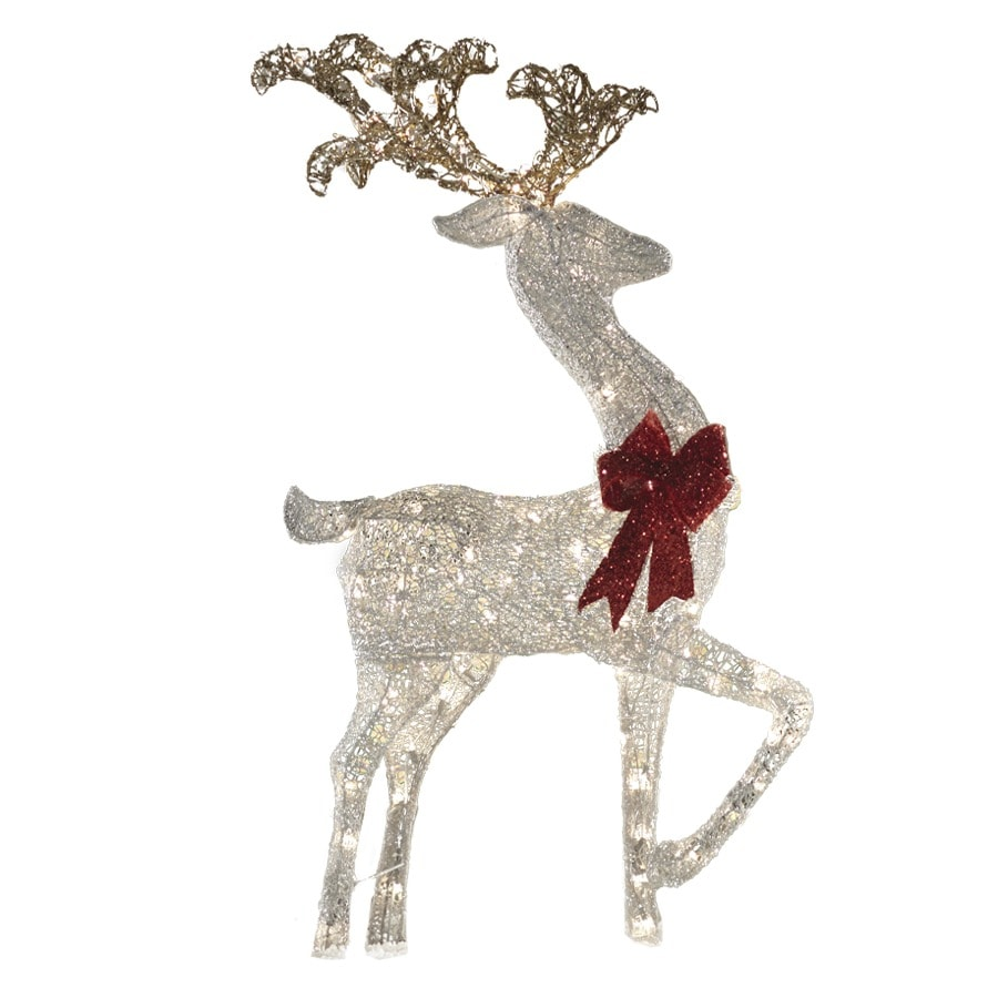 Shop holiday living 4 ft lighted deer outdoor christmas for Outdoor lighted christmas ornaments