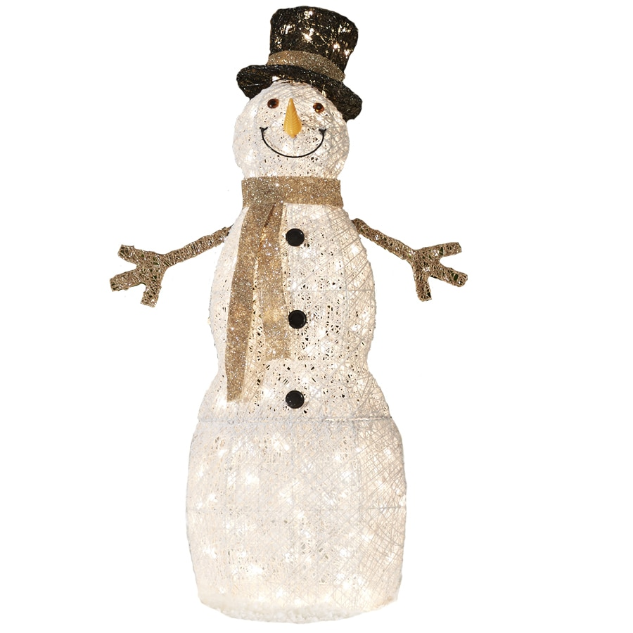 Shop holiday living pre lit snowman sculpture with for Outdoor light up ornaments