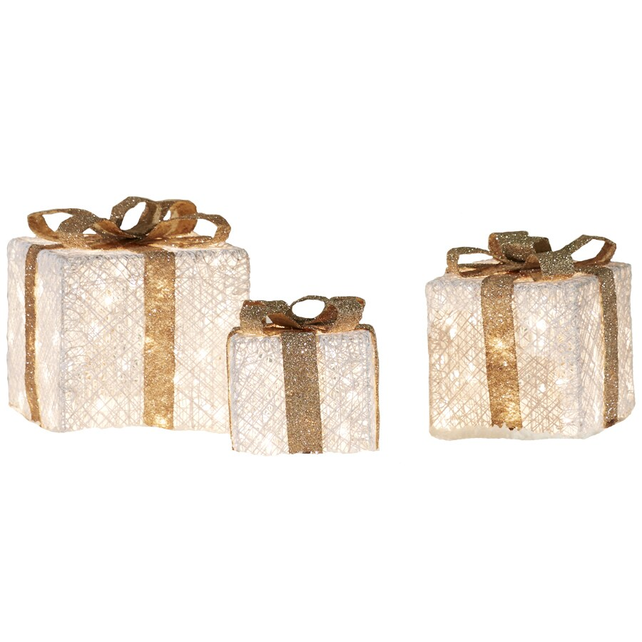 shop holiday living 066ft lighted gift box freestanding