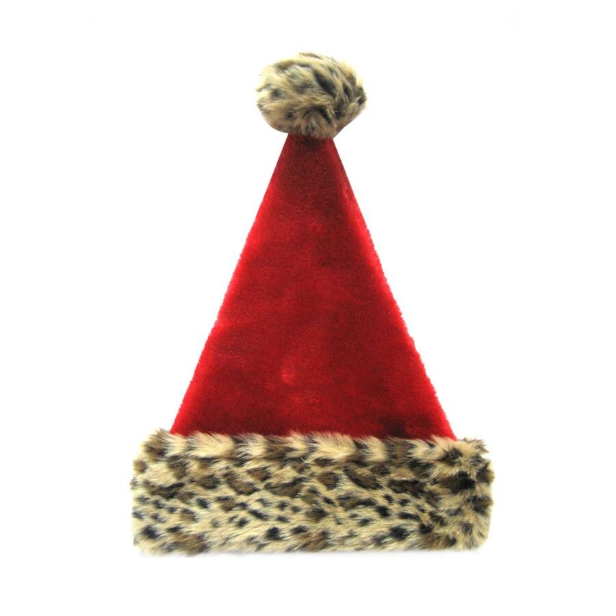 Holiday Living Christmas Leopard Plush Santa Hat
