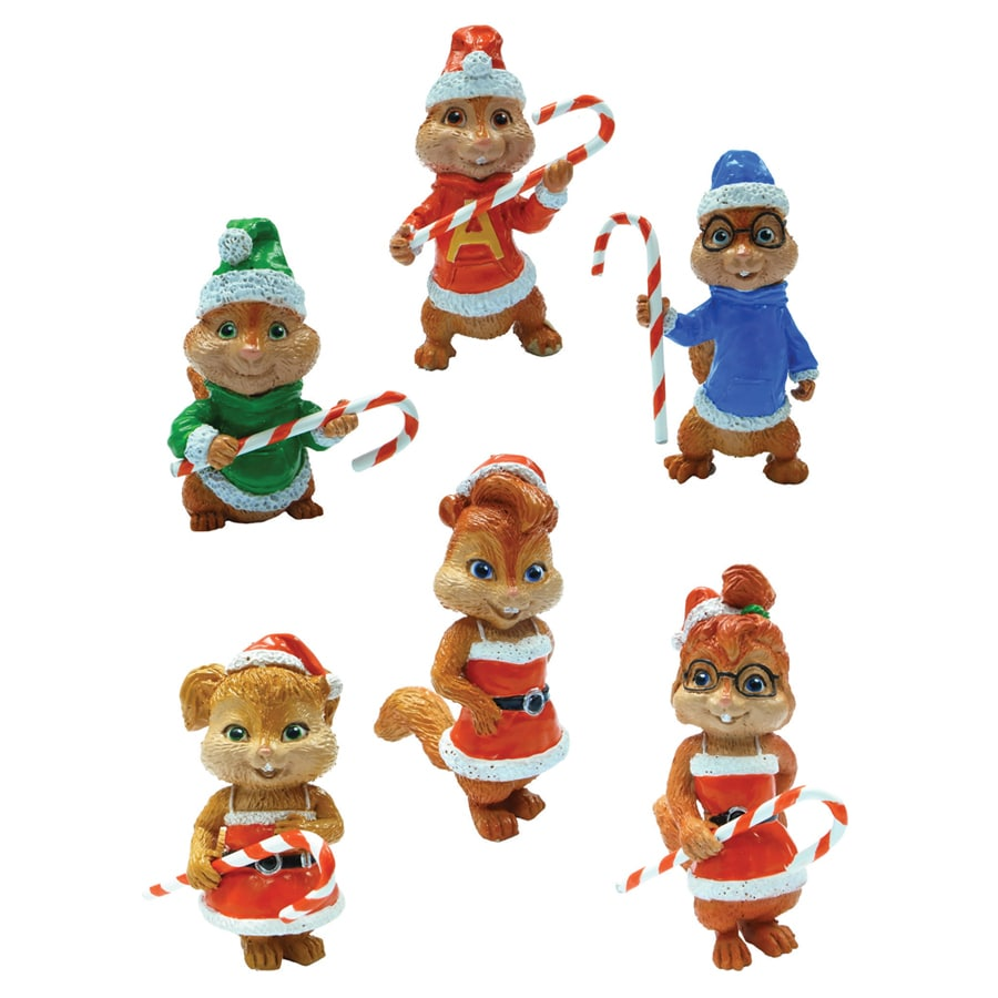 Alvin and The Chipmunks Brown Plastic Chipmunks 6-Piece Mini Ornament