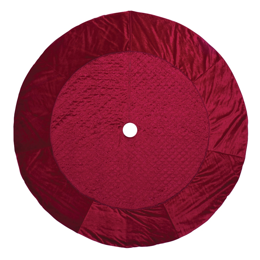 Holiday Living 72-in Red Polyester Quilted Velvet Christmas Tree Skirt