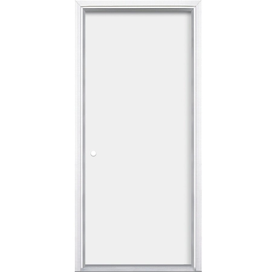 ProSteel Flush Insulating Core Right-Hand Inswing Primed Steel Prehung Entry Door (Common: 32-in x 80-in; Actual: 33.5-in x 81.5-in)