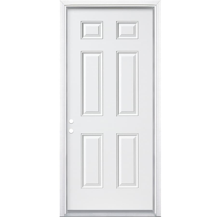 ReliaBilt 6-Panel Insulating Core Right-Hand Inswing Primed Steel Prehung Entry Door (Common: 32-in x 80-in; Actual: 33.5-in x 81.5-in)