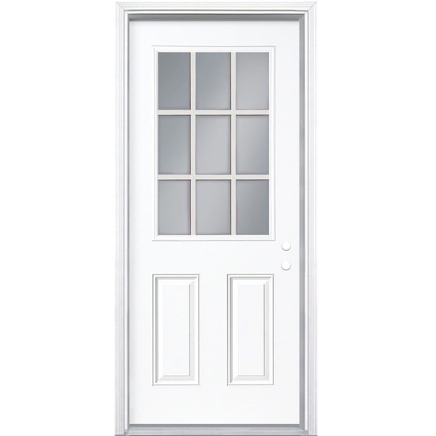 ReliaBilt 2-Panel Insulating Core 9-Lite Left-Hand Inswing Primed Steel Prehung Entry Door (Common: 32-in x 80-in; Actual: 33.5-in x 81.5-in)