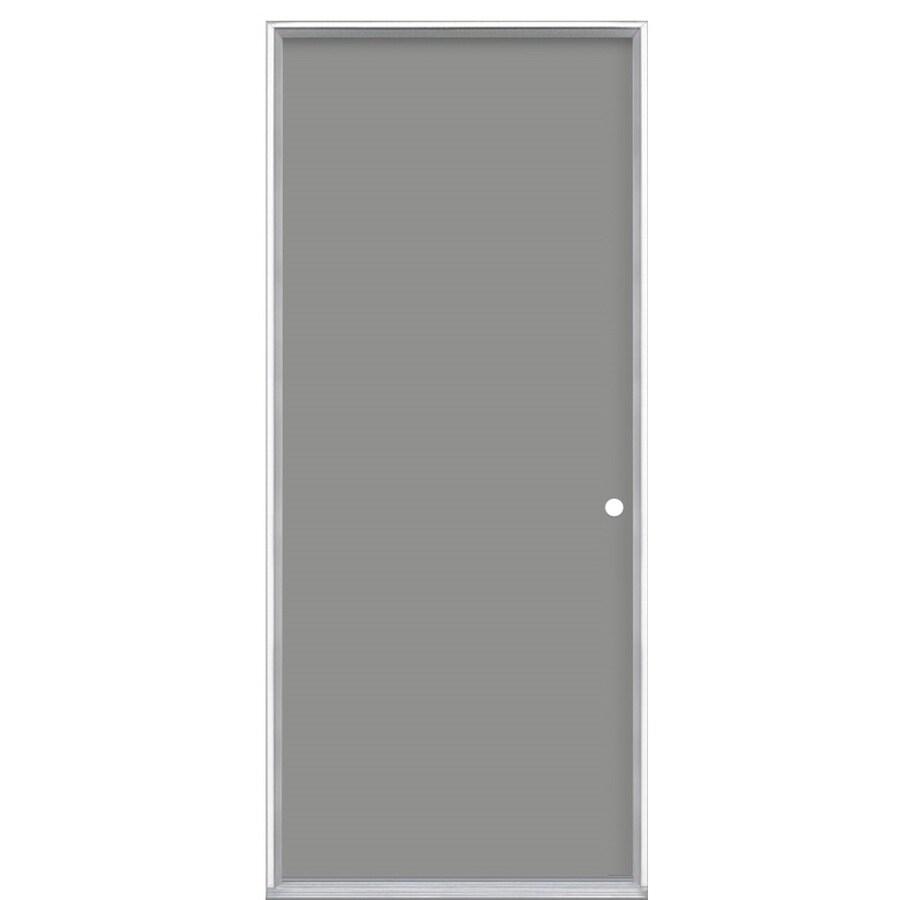 ProSteel Flush Insulating Core Left-Hand Inswing Primed Steel Prehung Entry Door (Common: 32-in x 80-in; Actual: 33.5-in x 81.5-in)