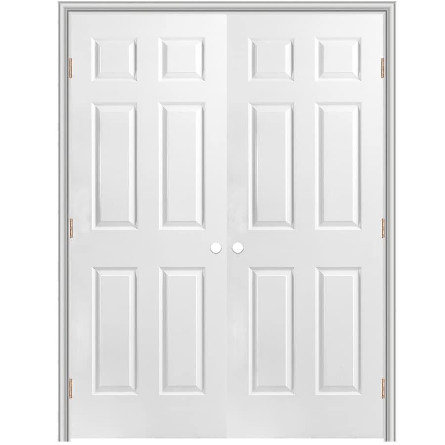 "ReliaBilt 72"" 6-Panel Hollw Core Composite Reversible Hand Interior Double Prehung Door 376 Casing"
