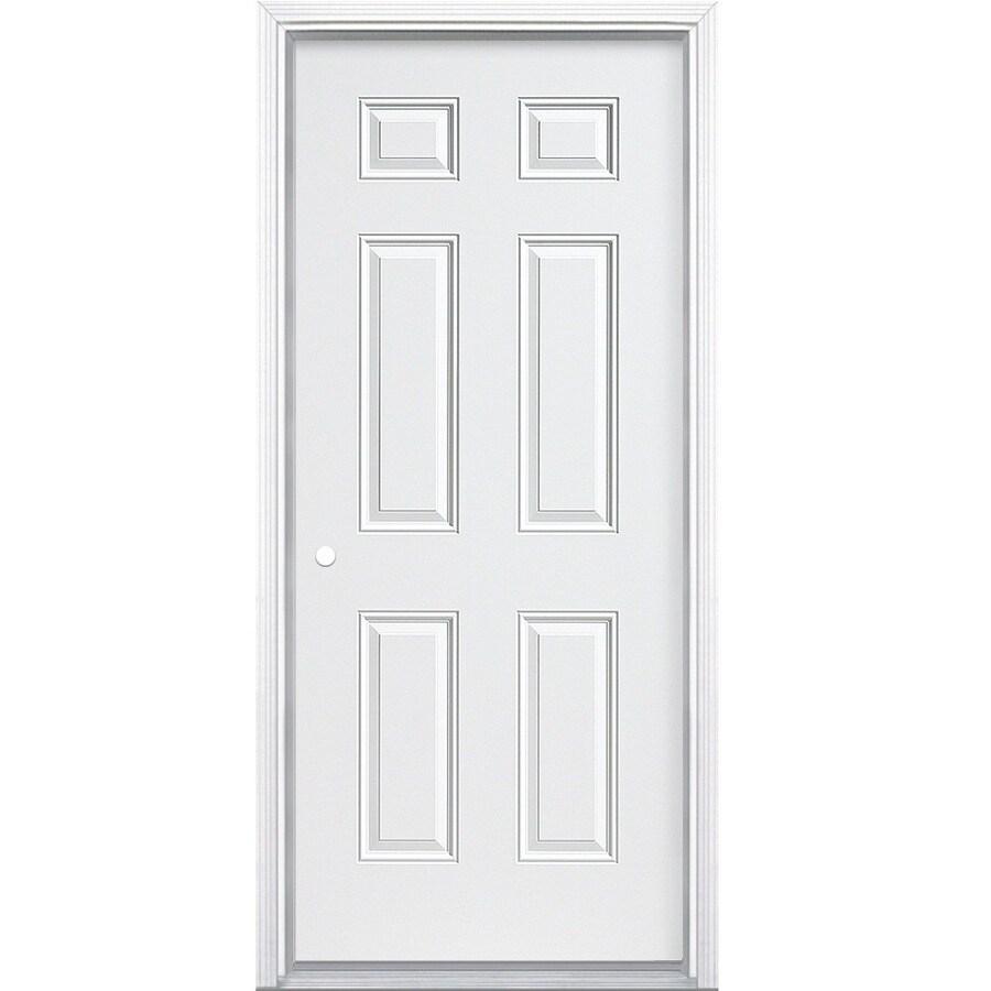 ProSteel 6-Panel Insulating Core Right-Hand Inswing Primed Steel Prehung Entry Door (Common: 30-in x 80-in; Actual: 31.5-in x 81.5-in)