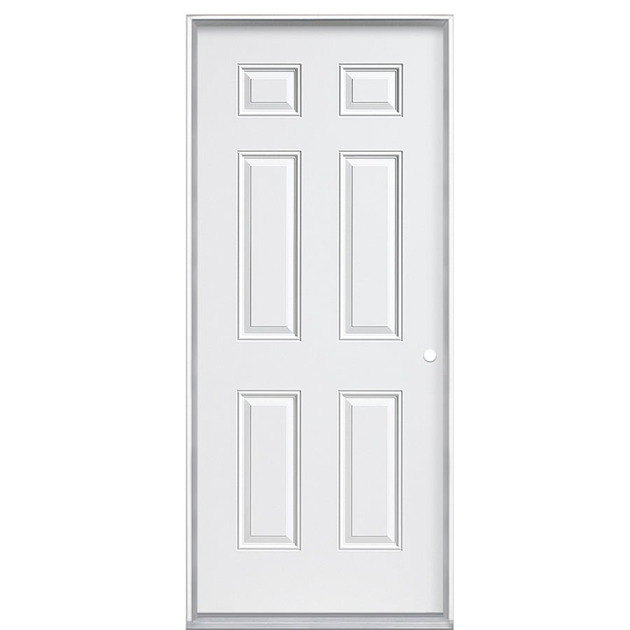 ReliaBilt 6-Panel Insulating Core Left-Hand Inswing Primed Steel Prehung Entry Door (Common: 32-in x 80-in; Actual: 32.5-in x 81.5-in)