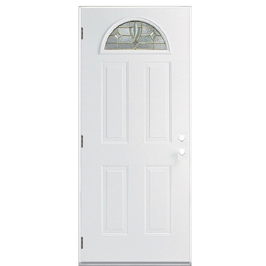 ReliaBilt Laurel 4-Panel Insulating Core Fan Lite Right-Hand Outswing Primed Steel Prehung Entry Door (Common: 36-in x 80-in; Actual: 37.5-in x 80.375-in)