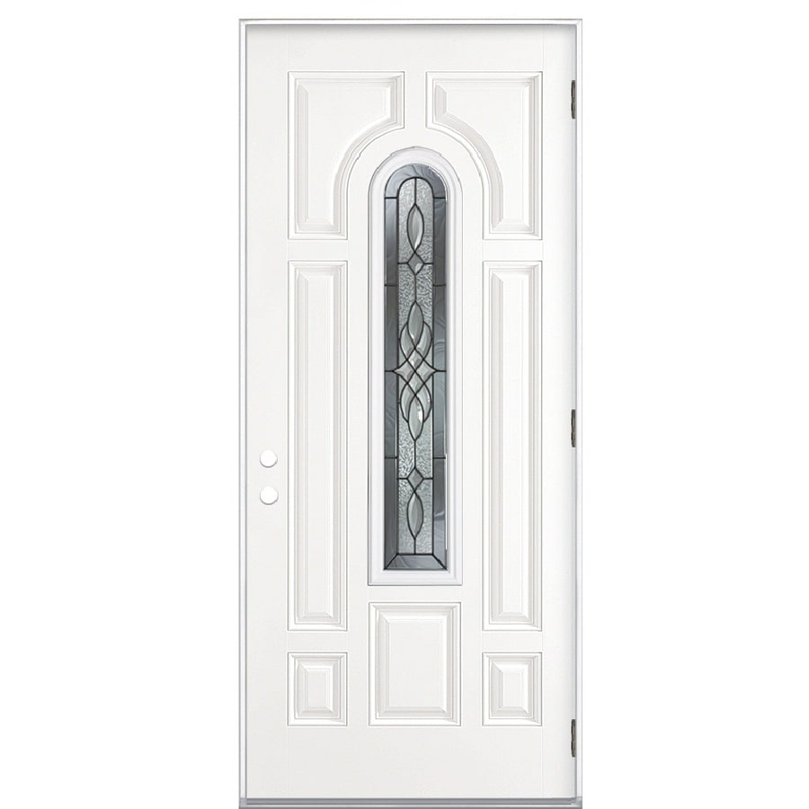 ReliaBilt Hampton 8-Panel Insulating Core Center Arch Lite Left-Hand Outswing Primed Steel Prehung Entry Door (Common: 36-in x 80-in; Actual: 37.5-in x 80.375-in)