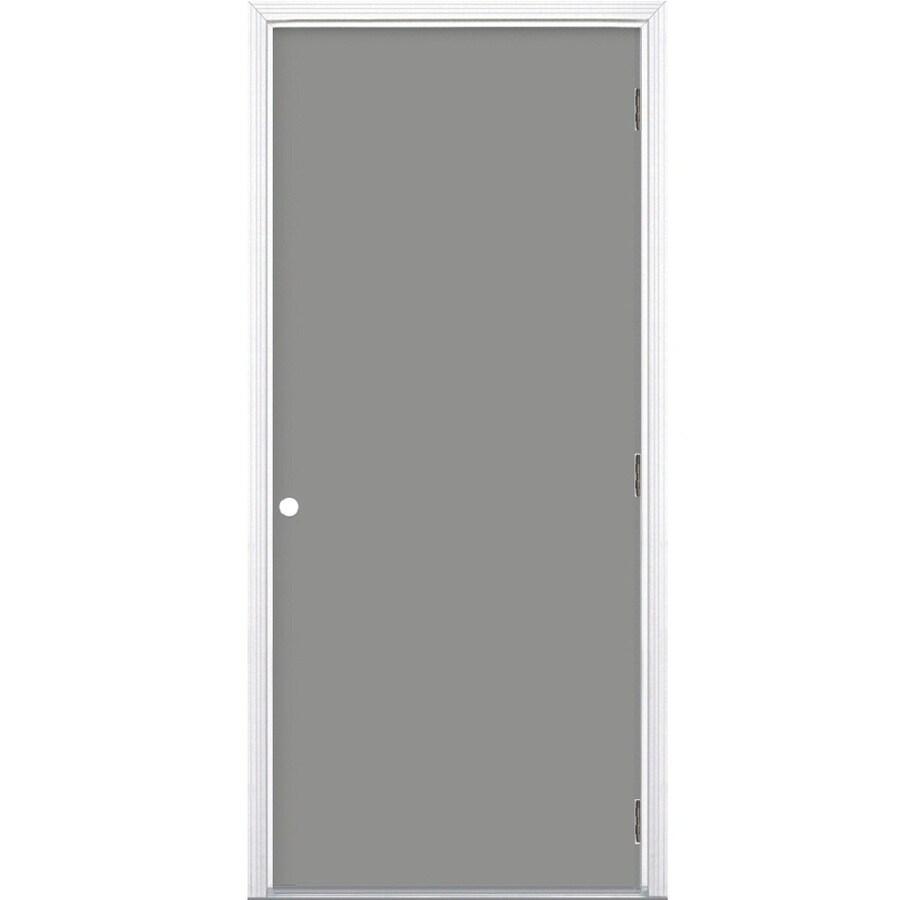 ProSteel Flush Insulating Core Left-Hand Outswing Primed Steel Prehung Entry Door (Common: 36-in x 80-in; Actual: 37.5-in x 80.375-in)