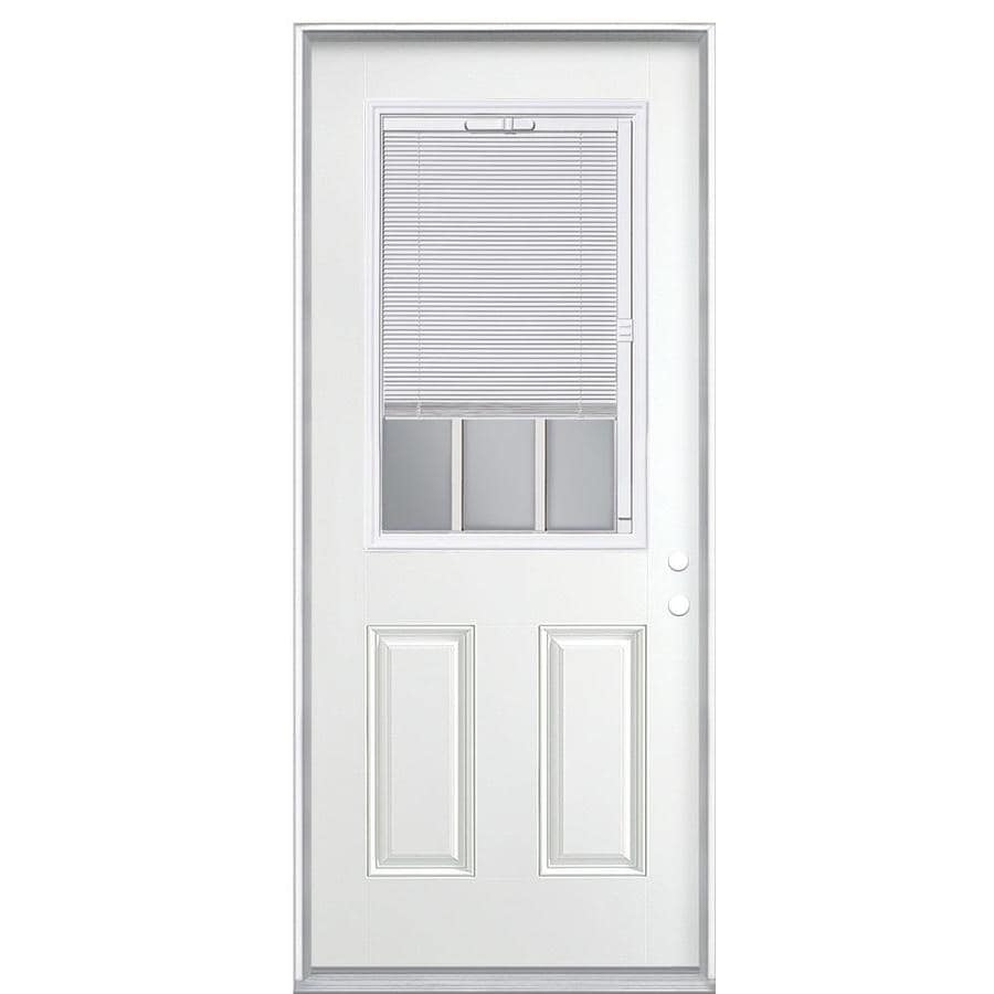 ReliaBilt 2-Panel Insulating Core Blinds and Grilles Between The Glass Half Lite Left-Hand Inswing Primed Steel Prehung Entry Door (Common: 32-in x 80-in; Actual: 33.5-in x 81.5-in)