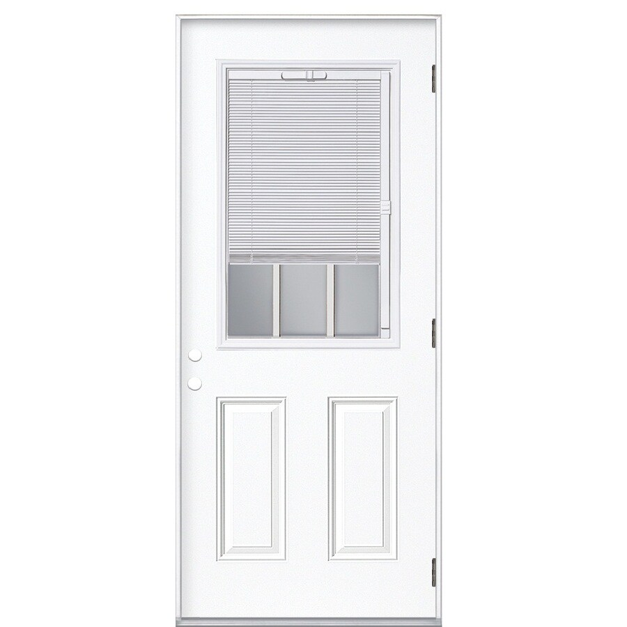 ReliaBilt 2-Panel Insulating Core Blinds and Grilles Between The Glass Half Lite Left-Hand Outswing Primed Steel Prehung Entry Door (Common: 32-in x 80-in; Actual: 33.5-in x 80.375-in)