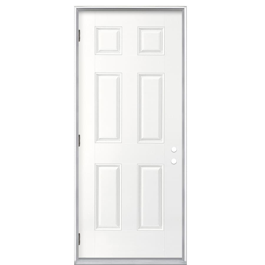 ReliaBilt 6-Panel Insulating Core Right-Hand Outswing Primed Fiberglass Prehung Entry Door (Common: 32-in x 80-in; Actual: 33.5-in x 80.375-in)