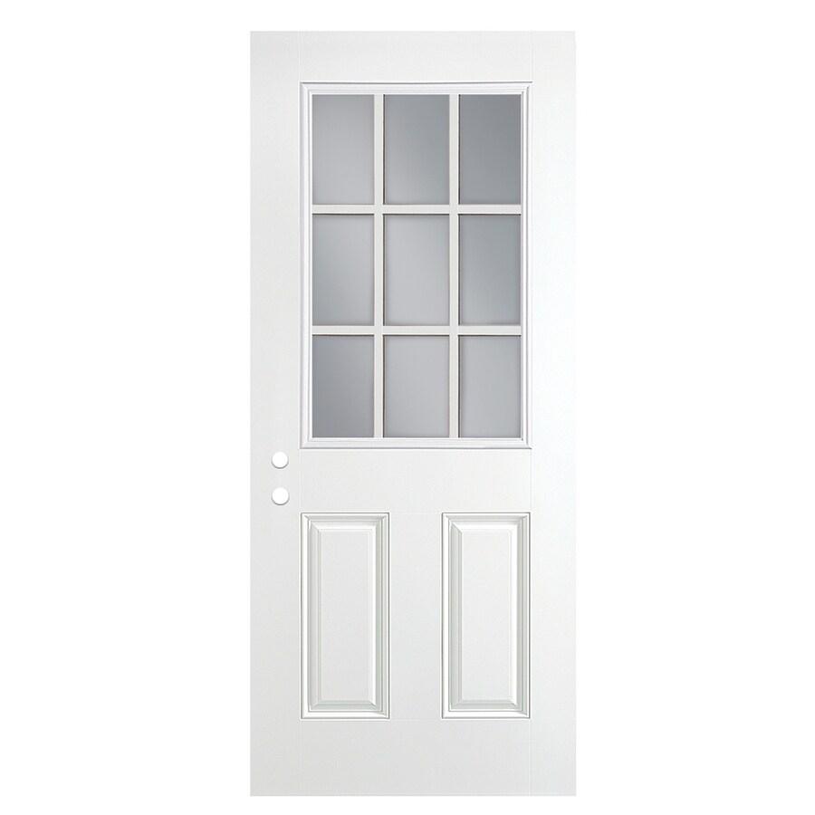 ReliaBilt 2-Panel Insulating Core 9-Lite Left-Hand Outswing Primed Fiberglass Prehung Entry Door (Common: 36-in x 80-in; Actual: 37.5-in x 80.375-in)