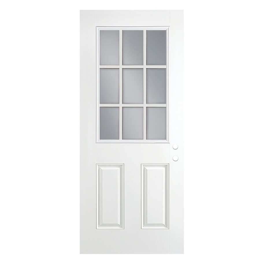 ReliaBilt 2-Panel Insulating Core 9-Lite Right-Hand Outswing Primed Fiberglass Prehung Entry Door (Common: 36-in x 80-in; Actual: 37.5-in x 80.375-in)