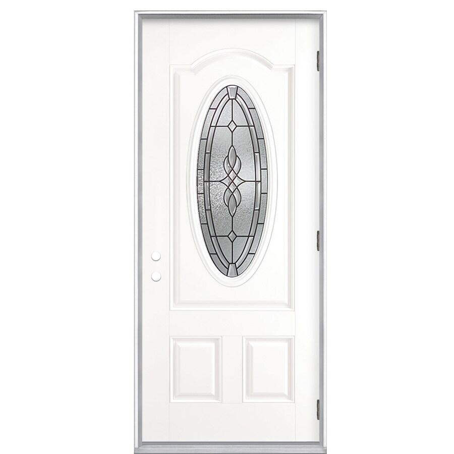 ReliaBilt Hampton 2-Panel Insulating Core Oval Lite Left-Hand Outswing Primed Fiberglass Prehung Entry Door (Common: 36-in x 80-in; Actual: 37.5-in x 80.375-in)