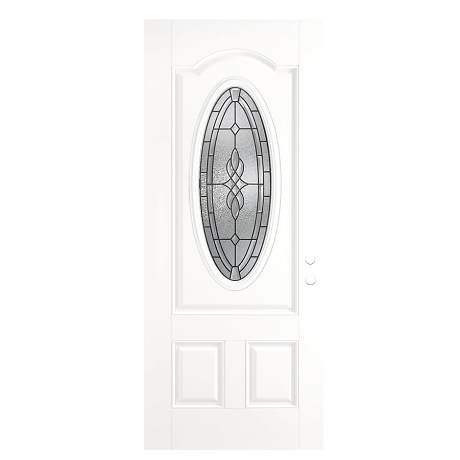 ReliaBilt Hampton 2-Panel Insulating Core Oval Lite Right-Hand Outswing Primed Fiberglass Prehung Entry Door (Common: 36-in x 80-in; Actual: 37.5-in x 80.375-in)