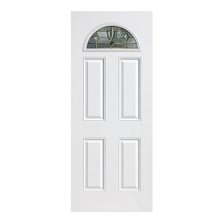 ReliaBilt Laurel 4-Panel Insulating Core Fan Lite Right-Hand Outswing Primed Fiberglass Prehung Entry Door (Common: 36-in x 80-in; Actual: 37.5-in x 80.375-in)