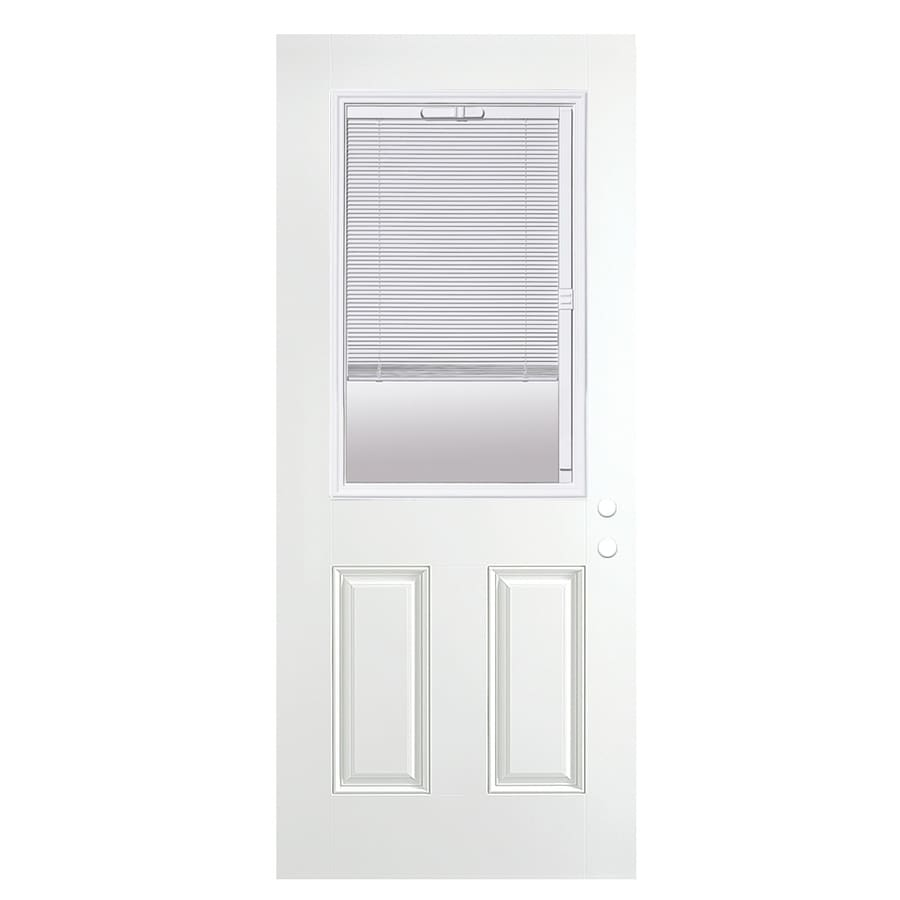 ReliaBilt 2-Panel Blinds Between the Glass Half Lite Right-Hand Outswing Fiberglass Primed Prehung Entry Door (Common: 36-in x 80-in; Actual: 37.5-in x 80.375-in)