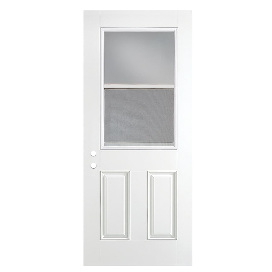 ReliaBilt 2-Panel Insulating Core Vented Glass with Screen Left-Hand Outswing Primed Fiberglass Prehung Entry Door (Common: 36-in x 80-in; Actual: 37.5-in x 80.375-in)