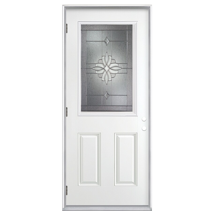ReliaBilt Laurel 2-Panel Insulating Core Half Lite Right-Hand Outswing Primed Fiberglass Prehung Entry Door (Common: 36-in x 80-in; Actual: 37.5-in x 80.375-in)